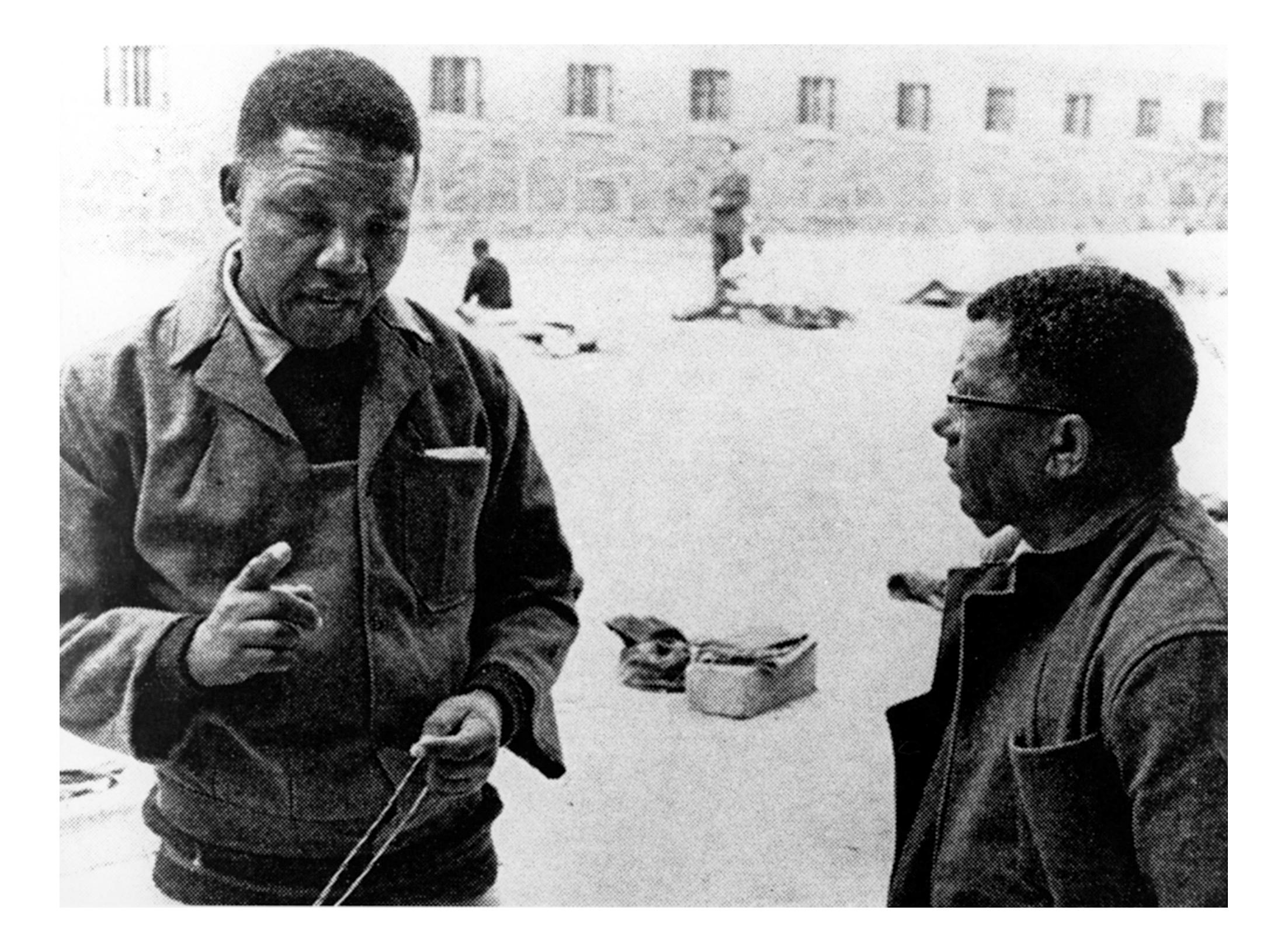 Mandela & Walter Sisulu at Robben Island