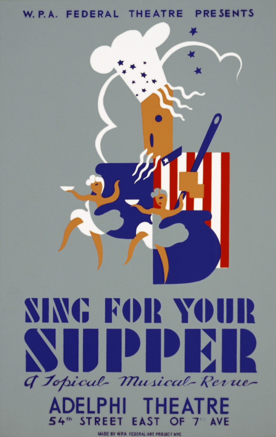 "Poster for ""Sing for Your Supper,"" the Federal Theatre Project production that Ballad for Americans was originally written for."