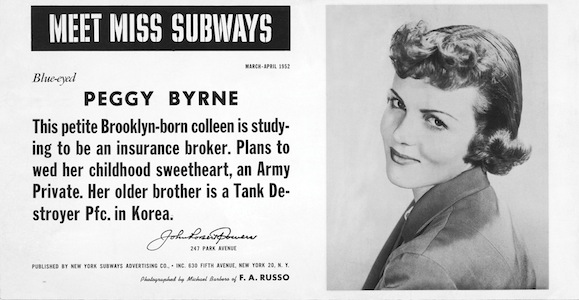 Peggy Bryne - Miss Subway March-April 1952